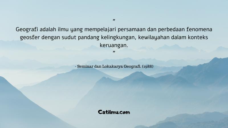 Definisi Hakikat Geografi