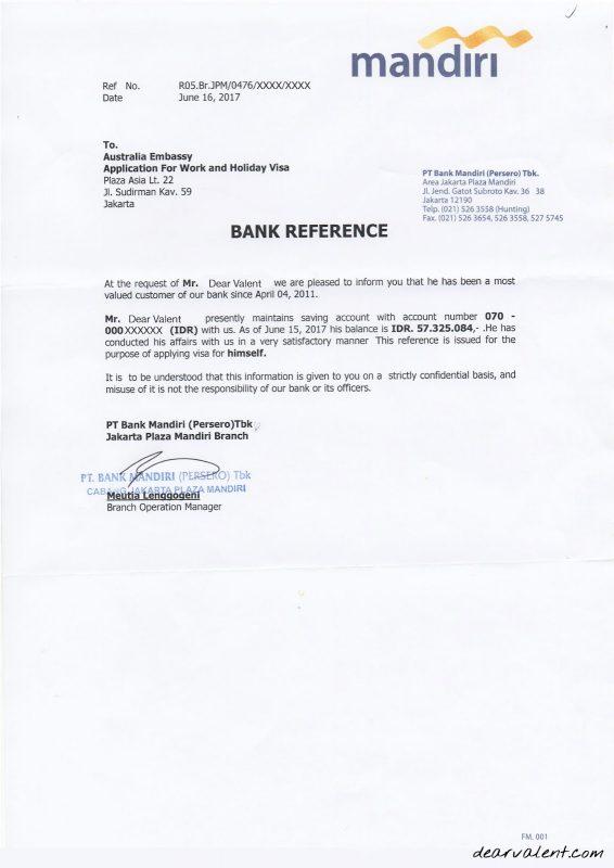Contoh Surat Referensi Bank Mandiri Untuk Visa