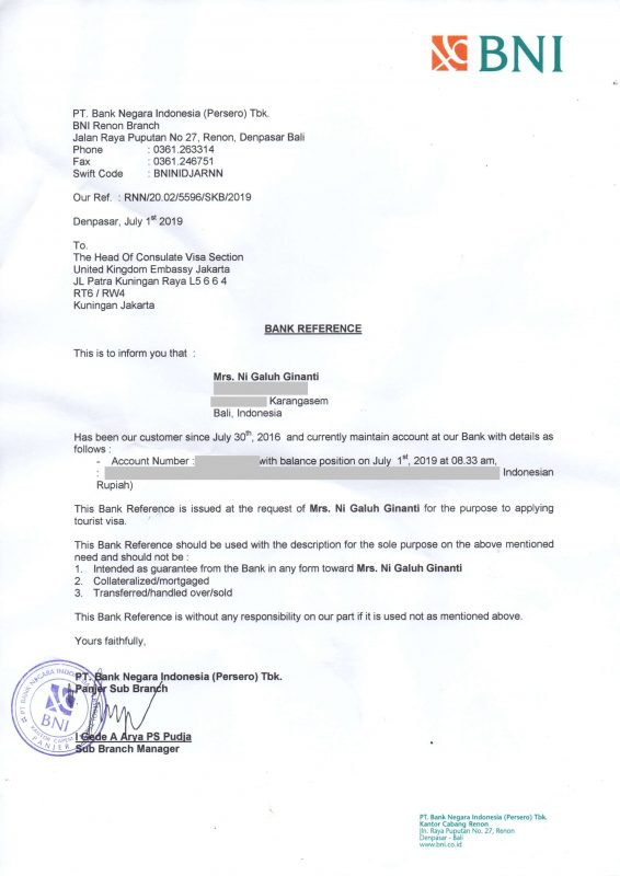 Contoh Surat Referensi Bank BNI Untuk Visa