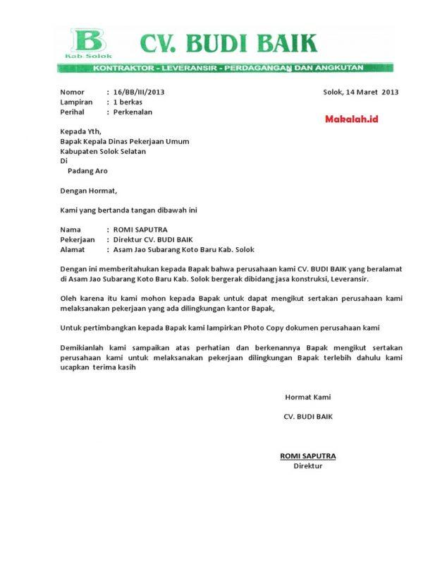 Contoh Surat Perkenalan Perusahaan Kontraktor
